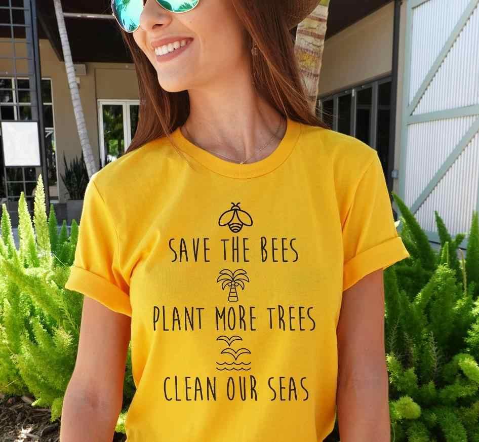 Salvar as abelhas planta mais tress limpar nossos mares t-shirts abelhas amante presente roupas t abelhas férias pôr-do-sol slogan gráfico