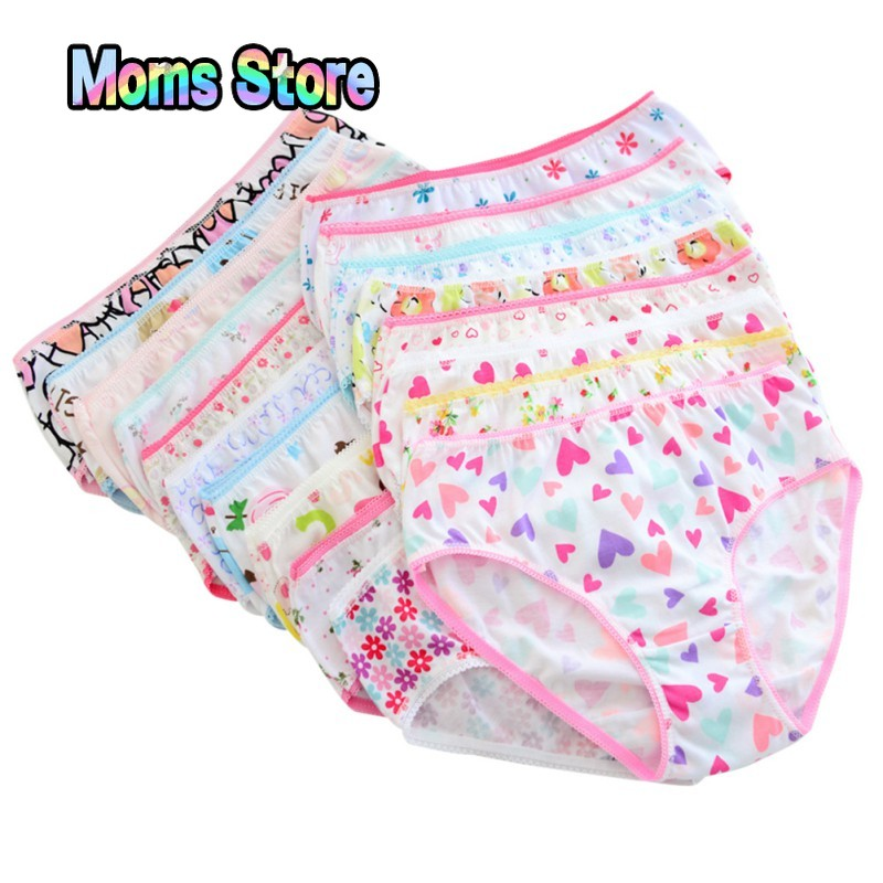 6pcs/set Baby Panties Cotton Kids Underpants Baby Girl Print Briefs Panties For Girls Children's Underwear Random Color