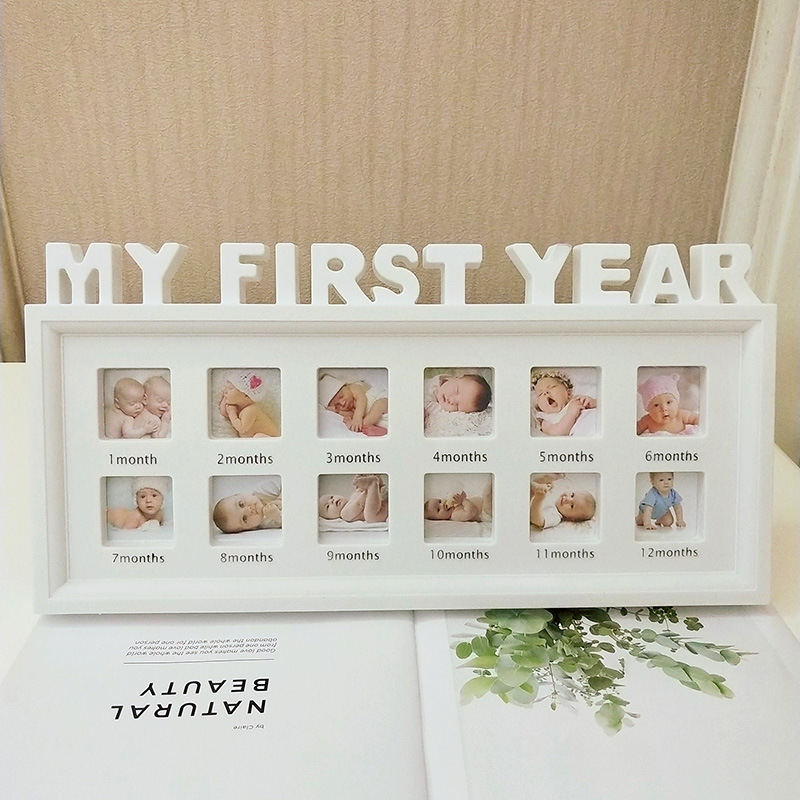 """MY FIRST YEAR"" Pictures Souvenirs Commemorate Creative DIY 0-12 Month Baby Kids Growing Memory Gift Display Plastic Photo Frame"
