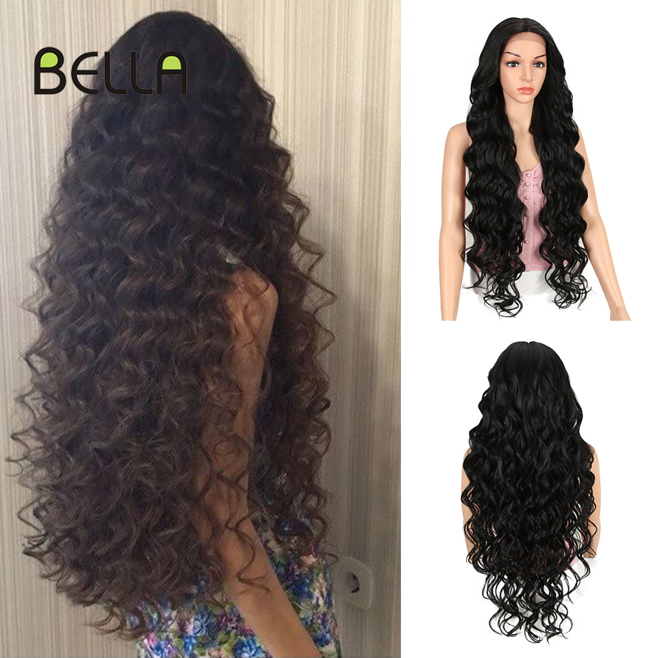 Bella 40 Inch Long Wig Deep Wave High Temperature Fiber Pink Blonde 613 Black Brown 9 Colors Lace Front Synthetic Wigs For Women