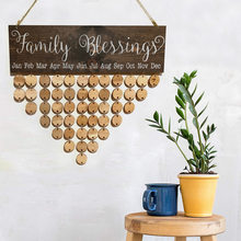Family and Friends Wooden Birthday Reminder Calendar Tracker Wall Hanging Plaque Board Sign DIY Home Decoration Gifts Pendants