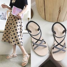 Liren 2019 Summer Casual Beach Sandals Narrow Band Cross-tied Lace-up Comfortable Women Sandals Outside Flat Low Heels Shoes цена 2017