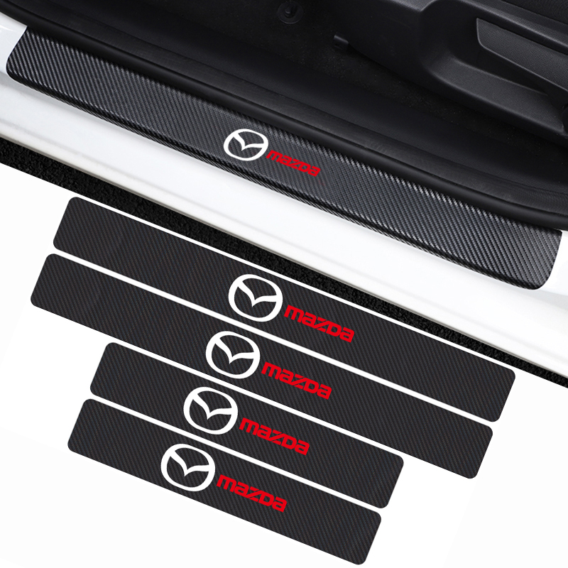 รถ 4PCS คาร์บอนไฟเบอร์เกณฑ์ประตูสติกเกอร์สำหรับมาสด้า Axela 2 3 MS 6 CX-5 CX-4 CX3 CX5 Artzma อุปกรณ์เสริม