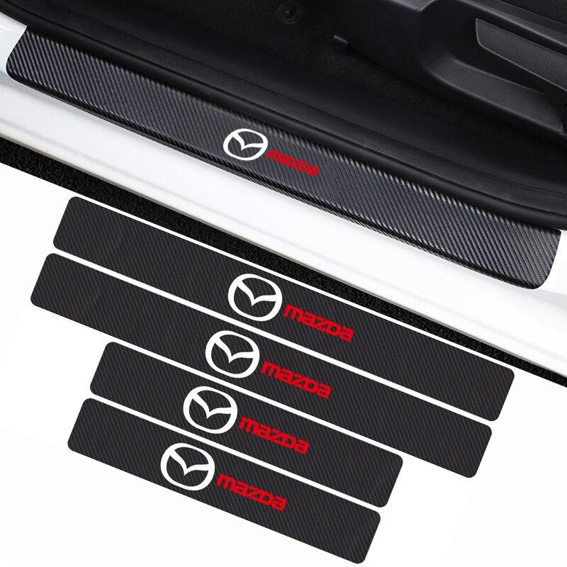 Car-Styling 4PCS Carbon Fiber Threshold Door Sill Sticker Decals For Mazda Axela 2 3 MS 6 CX-5 CX-4 CX3 CX5 Artzma Accessories