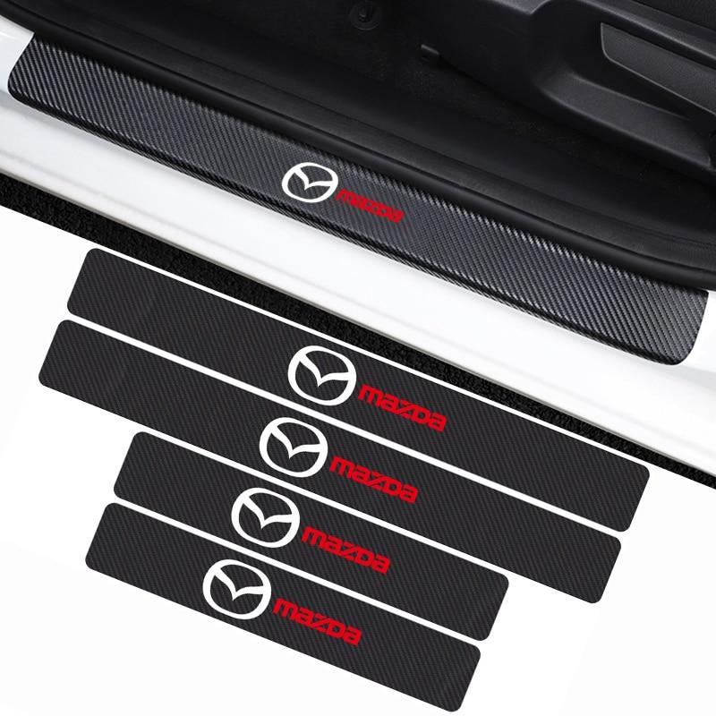 Mobil Styling 4 Buah Serat Karbon Ambang Pintu Sill Stiker Decals untuk Mazda Axela 2 3 Ms 6 CX-5 CX-4 CX3 CX5 Artzma Aksesoris
