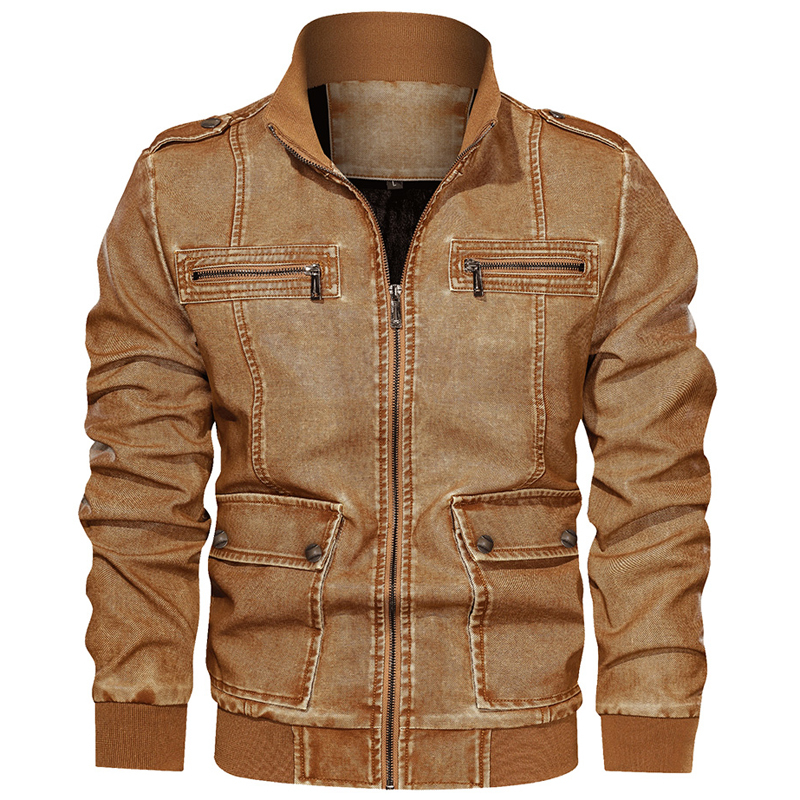 European And American Style Motorcycle Men's Leather Jackets And Coats Velvet 6XL Air Man Leather Coat Winter Warm Overcoat A917