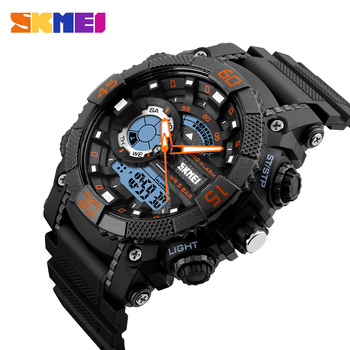 SKMEI 5Bar Waterproof Male Digital Wristwatches Men Quartz Watch 2 Time Chronograph Sport Watches Clock Relogio Masculino 1228 2018 baogela men fashion casual leather band quartz watch male sport wristwatches waterproof watches relogio masculino
