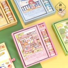 19 sztuk/zestaw szczęśliwy każdego dnia dla dziewczynek seria notebooków maskująca taśma Washi klej dekoracyjny taśma Diy do scrapbookingu etykieta samoprzylepna