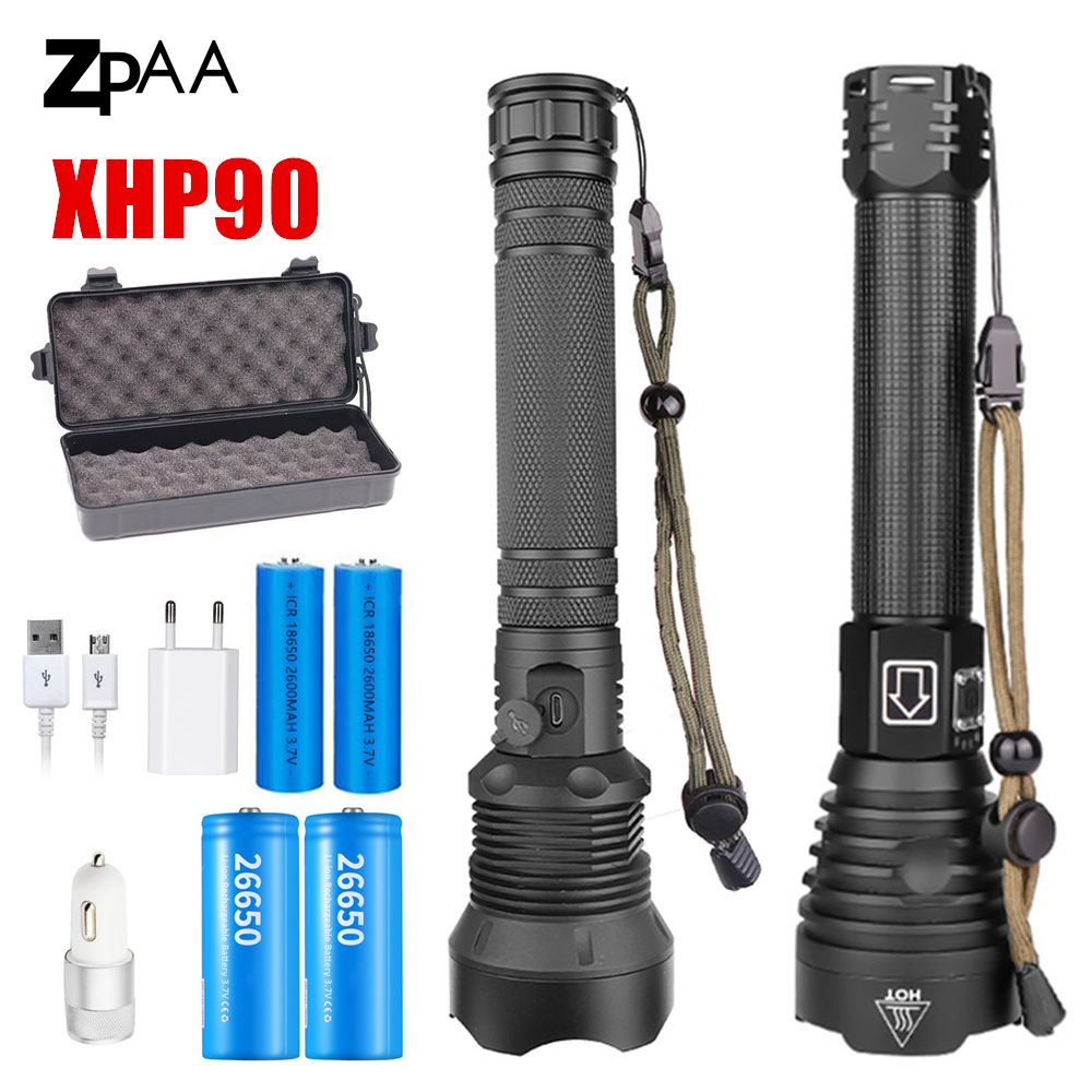 Super Bright XHP90 xhp70.2 Top powerful Led flashlight usb Zoom torch 2020 UK