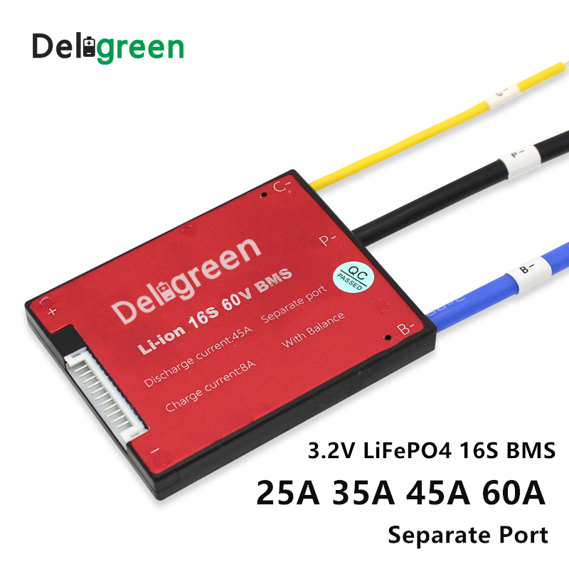 Lithium battery bms 16S 25A 35A 45A 60A PCM/PCB/BMS for 48V LiFePO4 Battery Pack for Electric Bicycle and Scooter and Tools