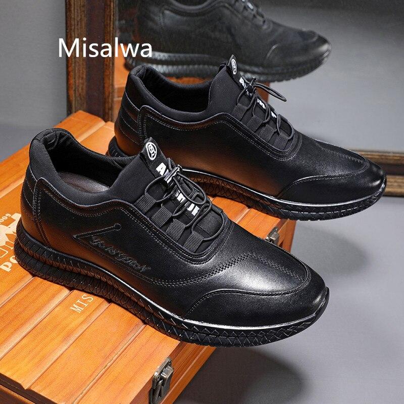 Misalwa nouveau Contact accru hommes en cuir chaussures décontractées semelle épaisse 5/7 CM hauteur augmentant ascenseur chaussures baskets en plein air