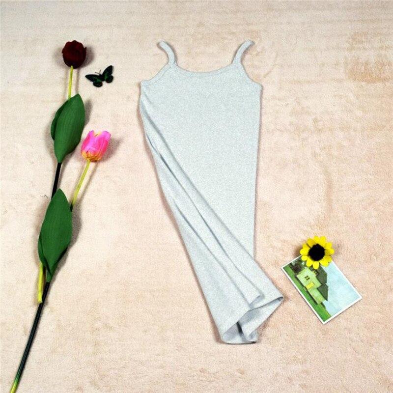 Новинка, Женская эластичная кофточка на бретельках, Длинный топ на бретелях, Мини Короткое платье, летнее повседневное сексуальное платье без рукавов для женщин - Цвет: A-Light Gray