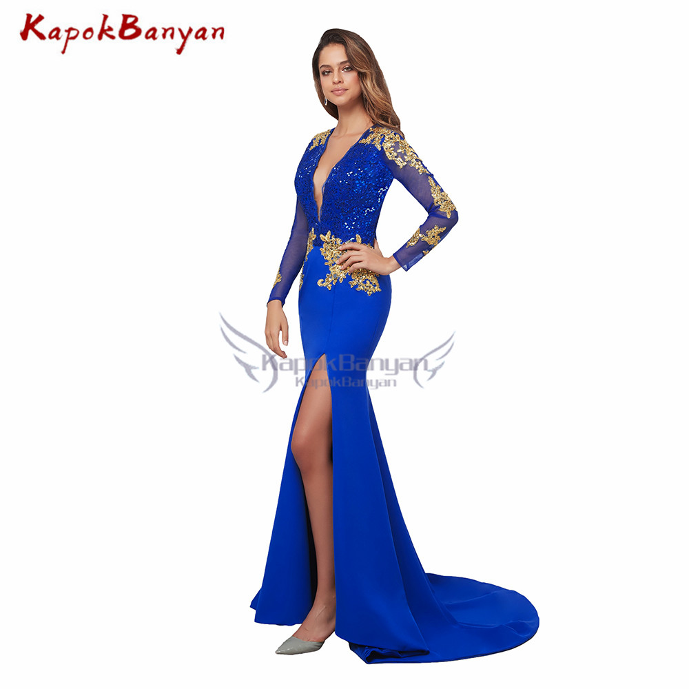 Side Split Gold Applique Mermaid Prom Dress Deep V-neck Long Sleeves Zipper Evening Party Gown Sexy Long Satin Formal Dresses