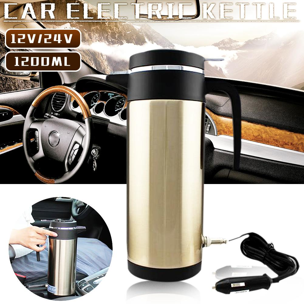 1200ML 12V/24V Car Heating Water Bottle Stainless Steel Electric In-car Kettle Travel Thermoses Auto Boiling Water Bottle