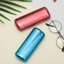 Superior Aluminum Lattice Glasses font b Case b font Hard Metal Capsule Flip Top Eyeglasses Box