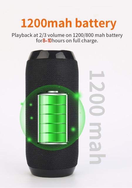 Portable Bluetooth-compatible Speaker Wireless Bass Column Waterproof Outdoor USB Speakers Support AUX TF Subwoofer Loudspeaker 2