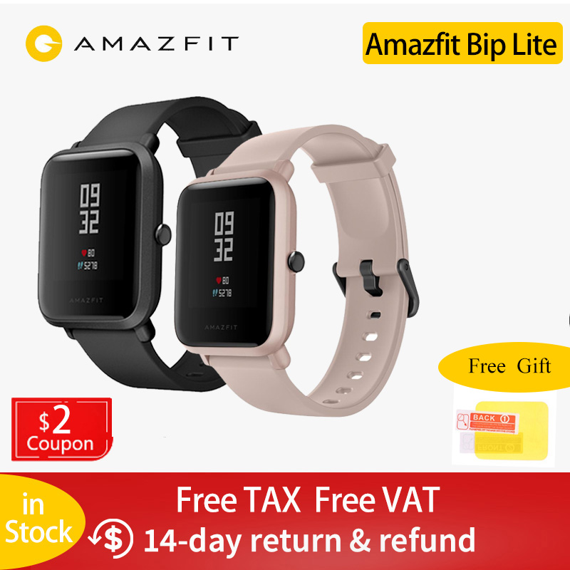 In Stock Global Version Amazfit Bip Lite Smart Watch 45-Day Battery Life 3ATM Water-resistance Smartwatch For Xiaomi New