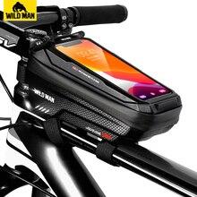 WILD MAN torba na rower przednia torba rowerowa przeciwdeszczowa z ekranem dotykowym rowerowa torba na telefon 6.5 Cal etui na telefon akcesoria Mtb