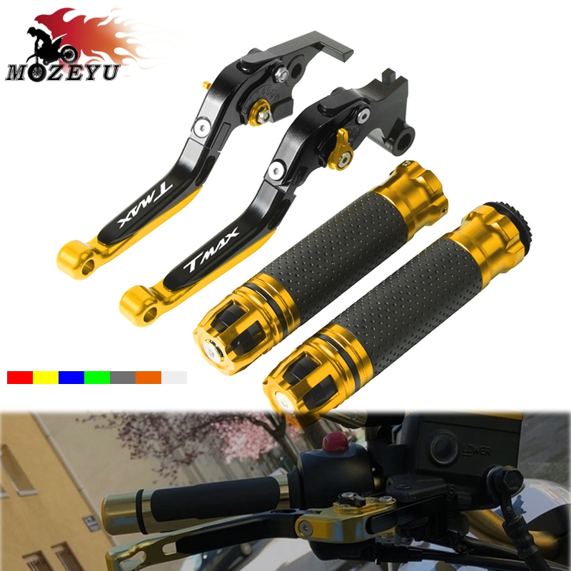 <font><b>TMAX</b></font> <font><b>TMAX</b></font> 500 530 2007 CNC Brake Clutch Lever and Handle bar Grips For <font><b>YAMAHA</b></font> <font><b>TMAX</b></font> 500/530 <font><b>2001</b></font> 2002-2004 2005 2006 Handbar end image