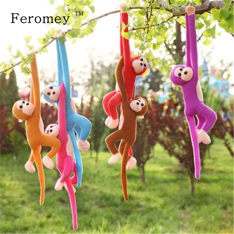 60cm Long Arm Tail Plush Monkey Doll Soft Monkey Stuffed Baby Sleeping Appease Animal Doll Birthday Gifts 10 Colors