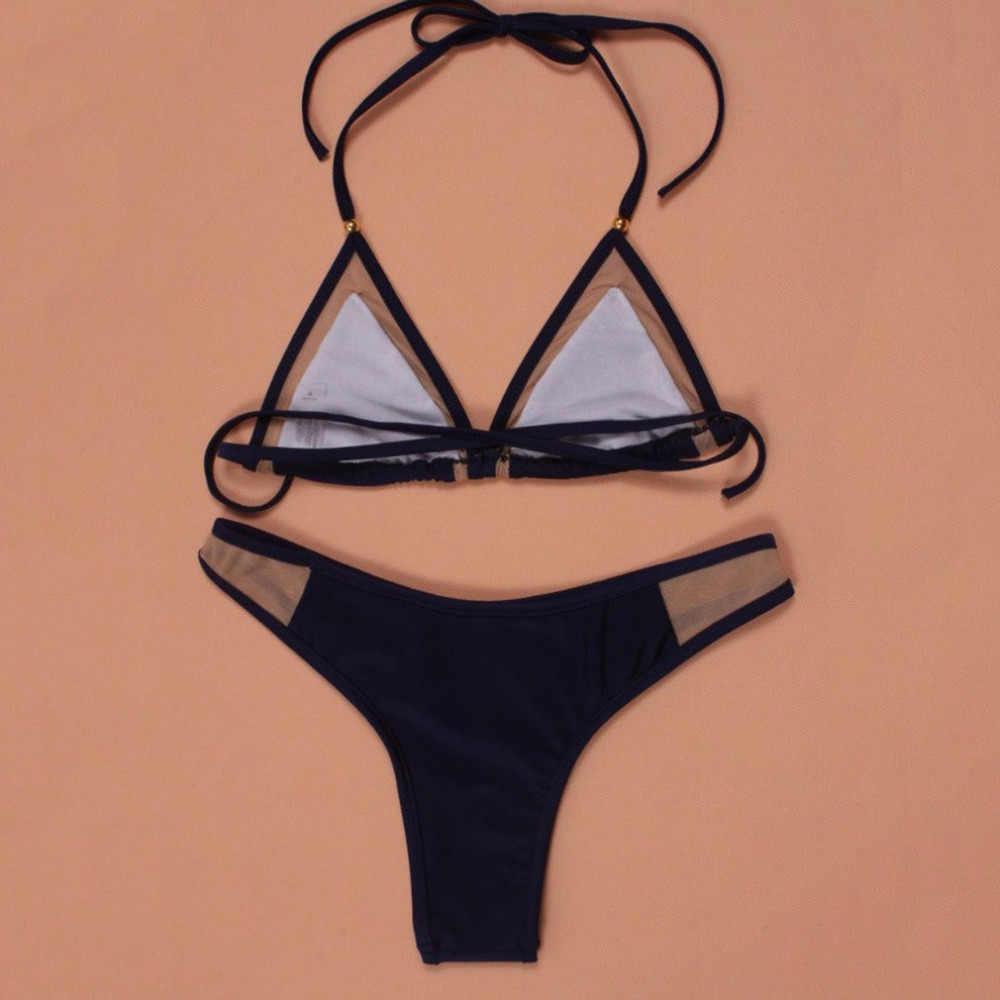 Sexy brazylijskie bikini Set Solid Color damskie damskie Summer Beach bandażowy strój kąpielowy strój kąpielowy strój kąpielowy 2018 Hot