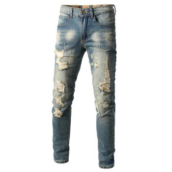 2020 New Men Vintage Ripped Jeans Classic Summer Male Slim Fit Straight Stretch Brand Denim Pants Casual Overalls Trousers simwood brand 2016 men s jeans straight fit denim trousers famous brand pants blue casual long pants jeans free shipping sj629