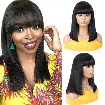 "Short Bob Wig With Full Bangs Pre Plucked Brazilian Virgin Straight Bob Wig Full Machine Made Wig 150% Density For Women 8-14 """