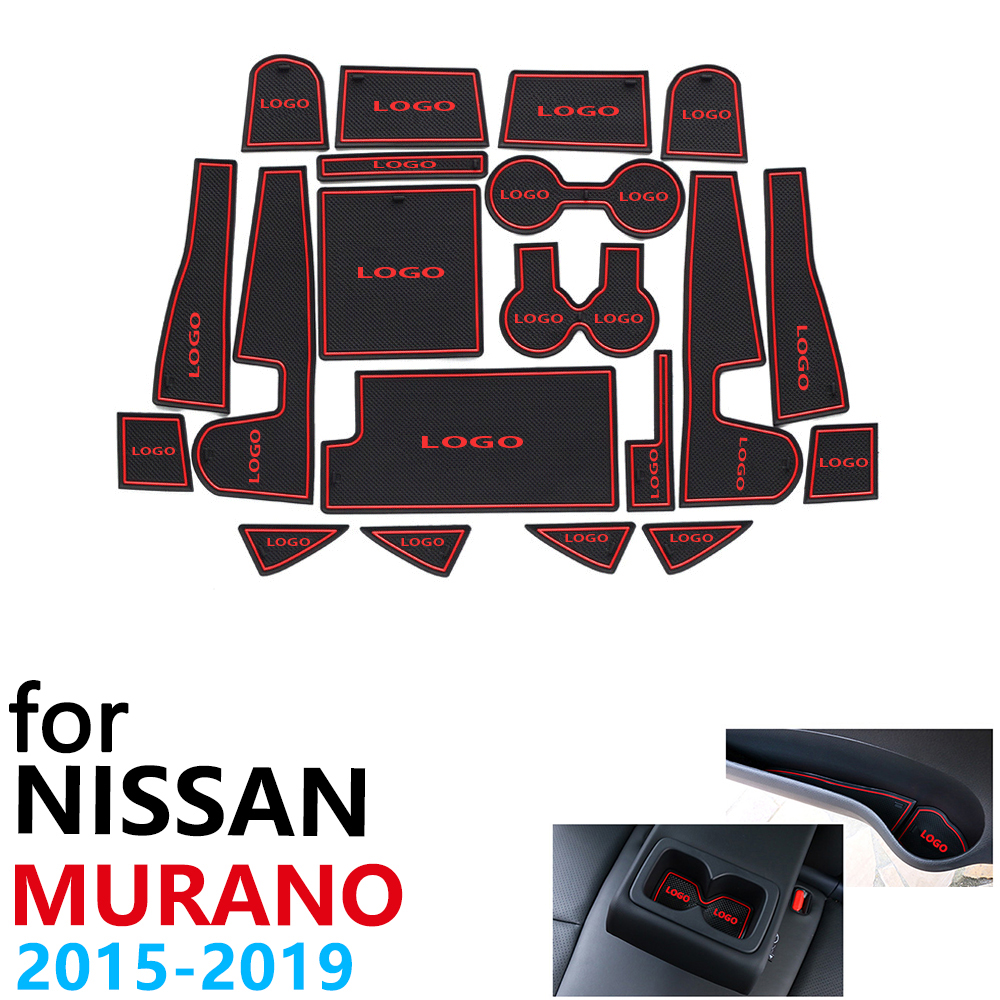 Anti-Slip Rubber Cup Cushion Door Groove Mat For Nissan Murano Z52 2015~2019 2016 2017 2018 20Pcs Accessories Mat For Phone