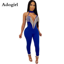 Crystal Tassel Halter V-neck Jumpsuit Women Sexy Strapless Bandage Romper Back Zipper Night Club Overalls Streetwear S-XXL(China)
