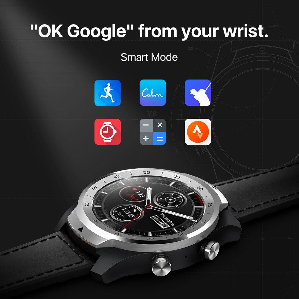 TicWatch Pro argent montre intelligente affichage en couches montre Bluetooth avec GPS paiement NFC IP68 Google Play Original - 3