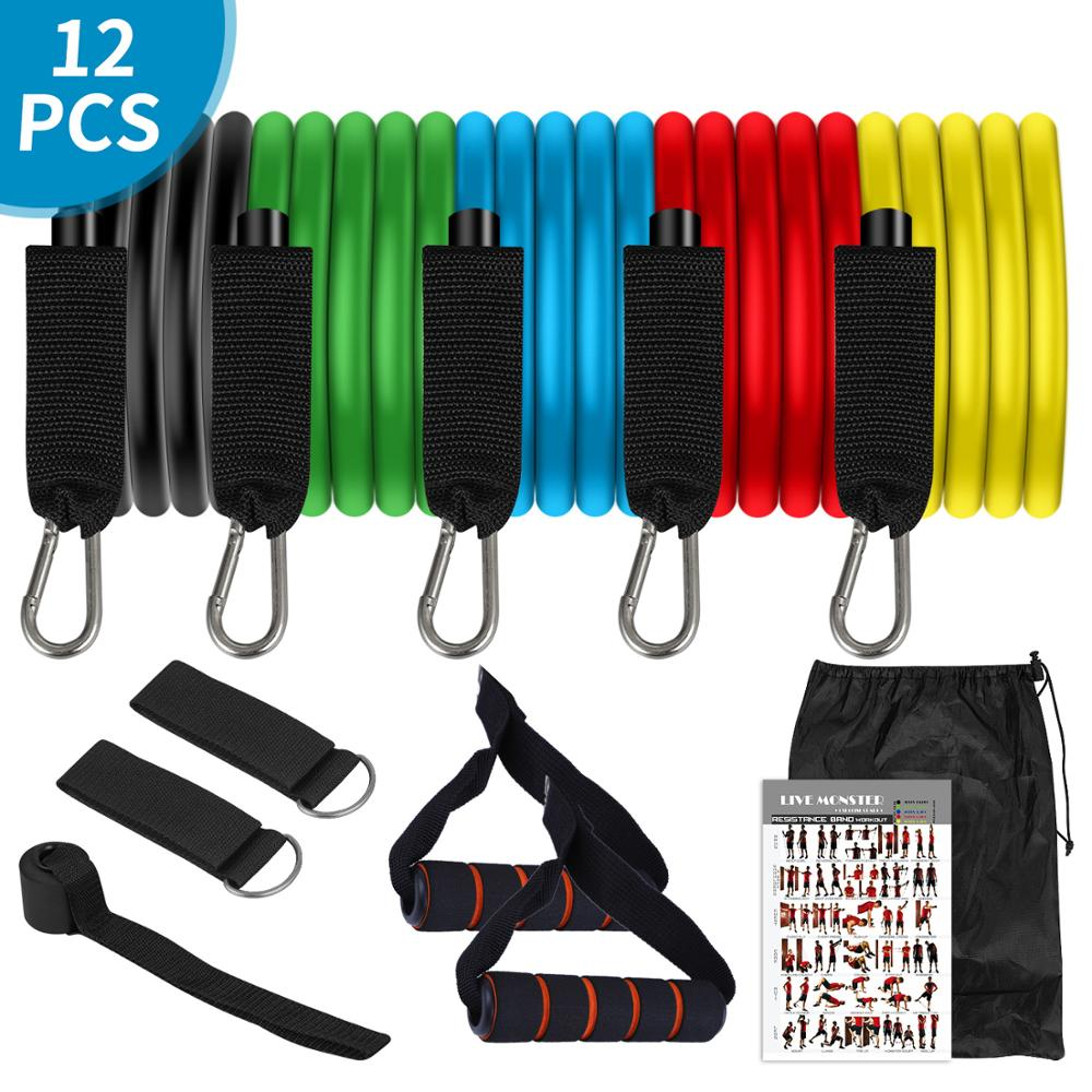 11Pcs TPE Latex Resistance Bands Crossfit Training Exercise Fitness Elast Rope , Rubber Expander Elastic Bands Fitness Resist