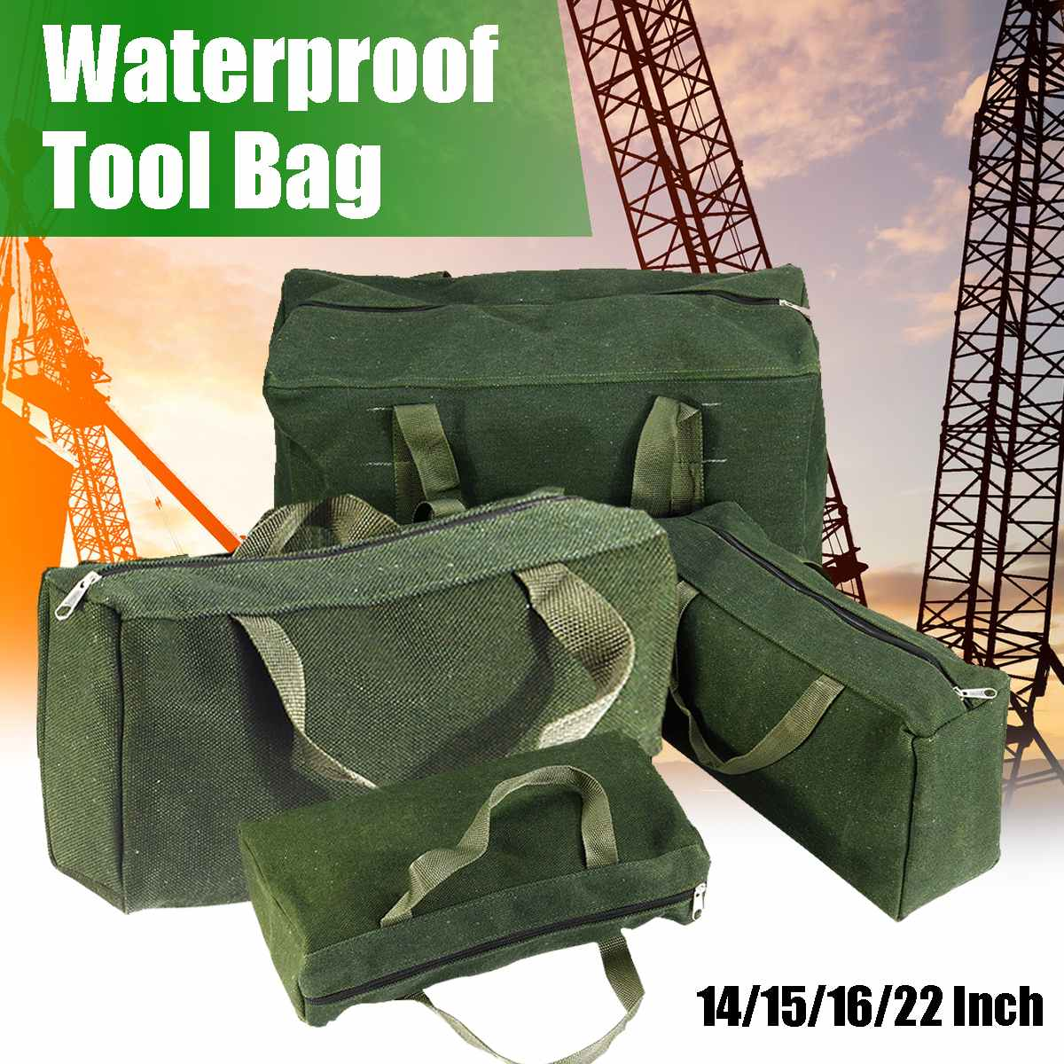 14/15/16/22inch Large Capacity Tool Bag Durable Canvas Waterproof Tool Bag Metal Screws Drill Pliers Wrench Organizer Pouch Case