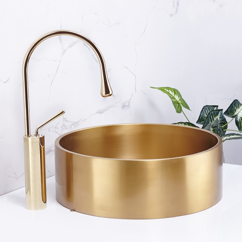 Counter Basin Sink-Bowl Bathroom Round Gold 304-Stainless-Steel Small-Size KTV Villa