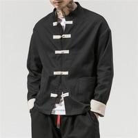 Chinese Traditional Retro Coat Man Autmn Long Sleeve Tang Suit Mandarin Collar Buckle Jacket Oriental Cotton Kung Fu Shirt