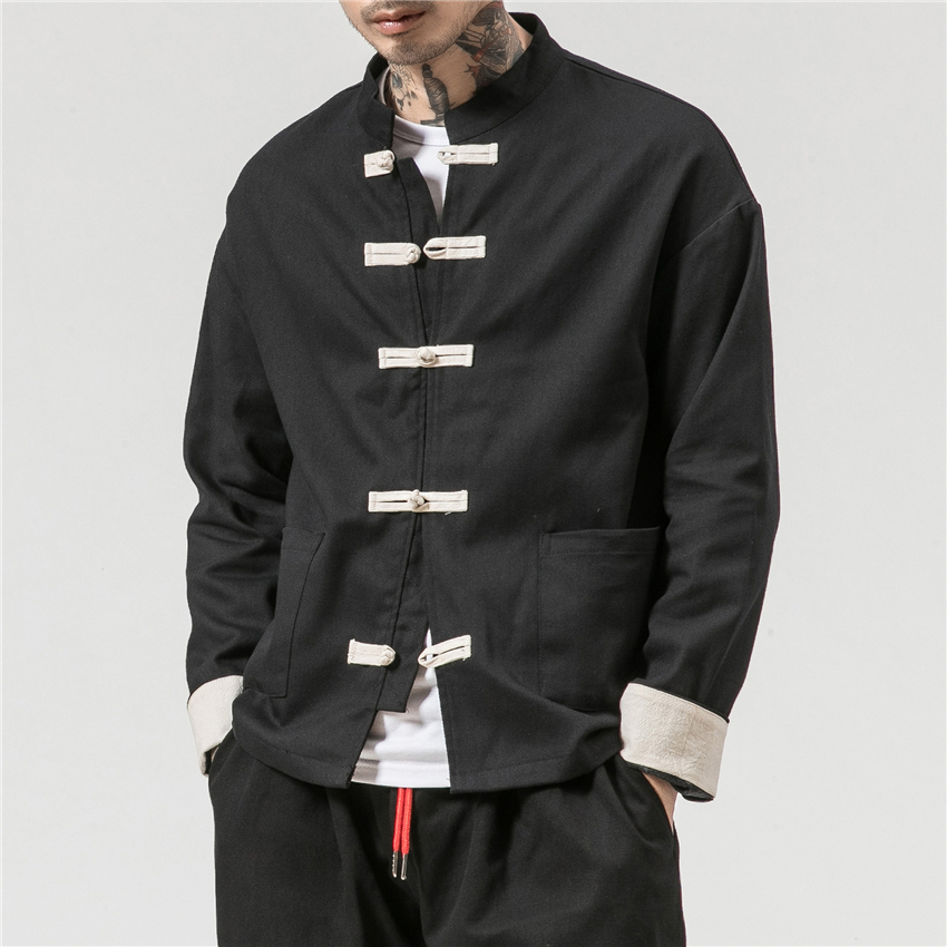 Chinese Traditional Retro Coat Man Autmn Long Sleeve Tang Suit Mandarin Collar Buckle Jacket Oriental Cotton Kung Fu Shirt