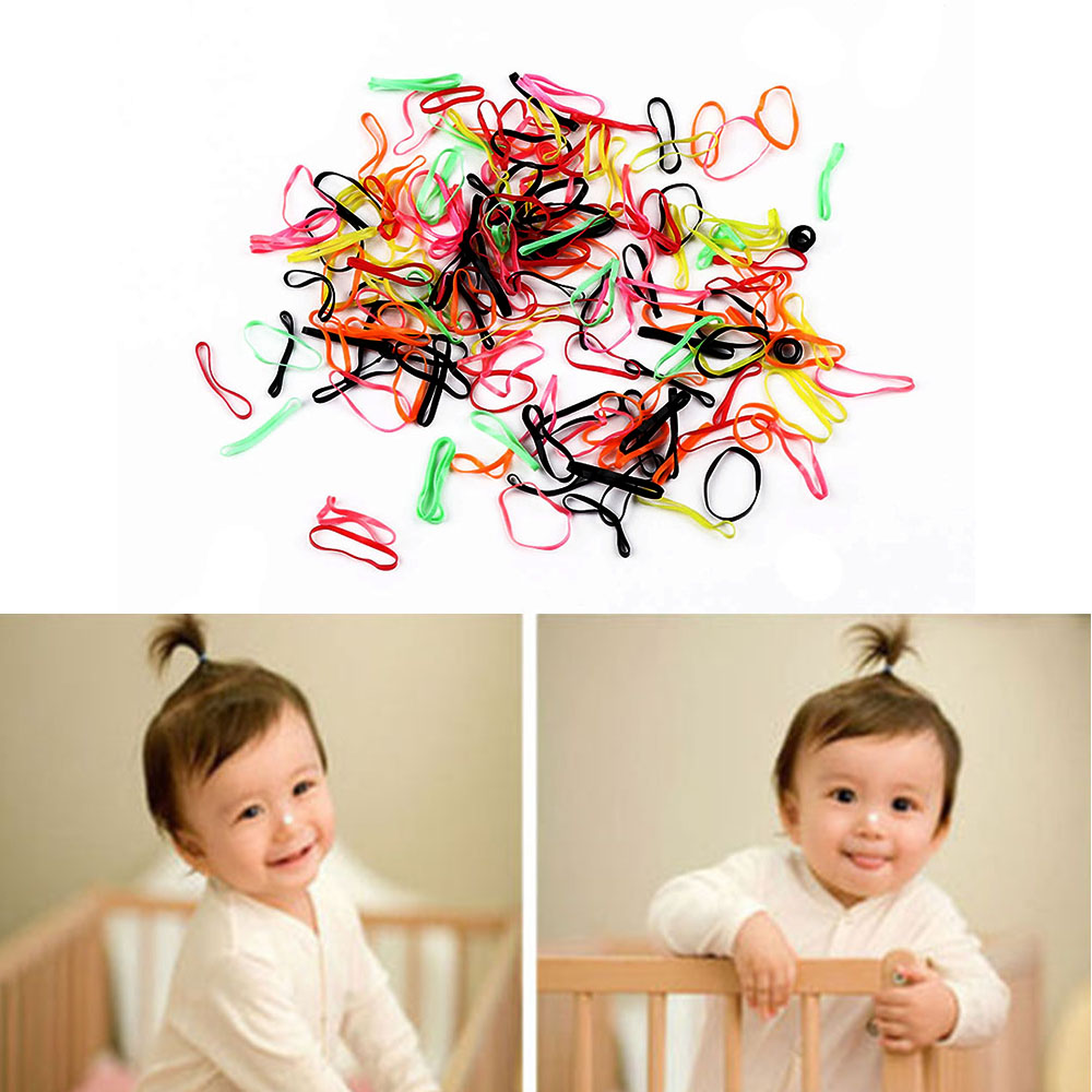 300pcs/pack Disposable Rubber Bands Elastic Hair Ties Kids Girl Ponytails Holder For Wedding Hairstyle School Office Supplies