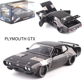 22CM 1:24 Scale Metal Alloy 1972 DOM'S PLYMOUTH GTX Fast Racing Car Auto Model Diecast Vehicles Toys F Kids Collection image