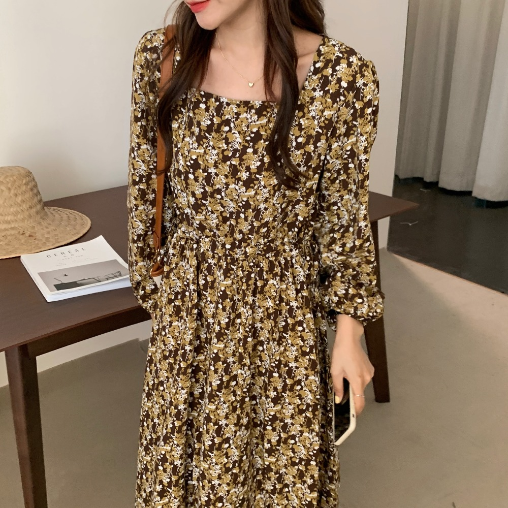 Hab37bb253dd44a52a1de733a87870c80S - Autumn Square Collar Lantern Sleeves Floral Print Midi Dress