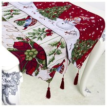 цена на Xmas Snowman Table Runner Table Flag Party Dinner Table Cloth Cover Merry Christmas Decorations for Home Navidad 2019 New Year