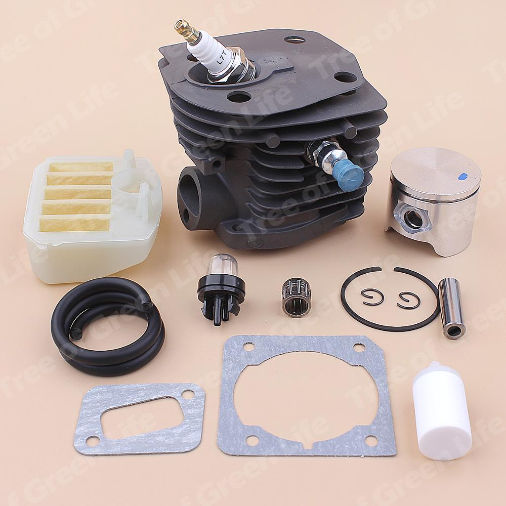 Tools : 44mm Cylinder Piston Kit For Husqvarna 350 351 353 346XP Air Fuel Filter Line Primer Bulb Gasket Set