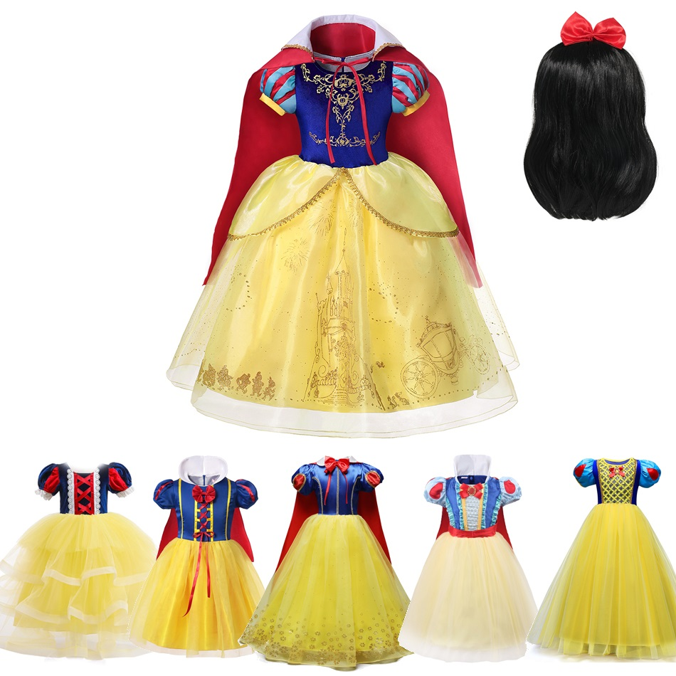 Girls Snow White Princess Costume Deluxe Short Sleeve Layered Fancy Dress Up Halloween Birthday Party Outfit Clothes