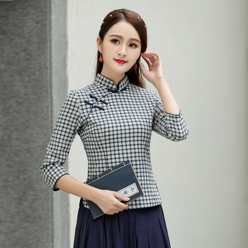 Women Lattice Blouse Shirt 4XL Cheongsam Cotton Blouse Chinois Vintage QipaoTops Grid Seven-quarter Sleeve Chinese Style Blouse