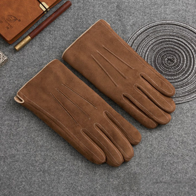 2019 Autumn Winter Men Warm Gloves Suede Leather Thermal Fleece Brown Gloves For Female Mens Warm Motorcycle Sport Mittens Brown