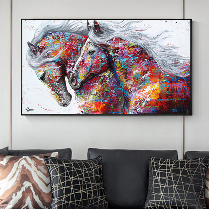 Modern Posters and Prints Graffiti Two Running Horses Wall Art Canvas Painting Animal Pictures for Living Room Home Design(China)