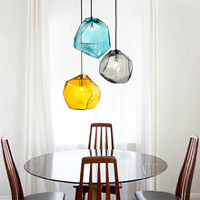 цена на Creative Ice Cube Shape Glass Chandelier Lamp Modern Pendent Lamp Dining Room Clothing Shop Cafe Pendent Lights Fixture