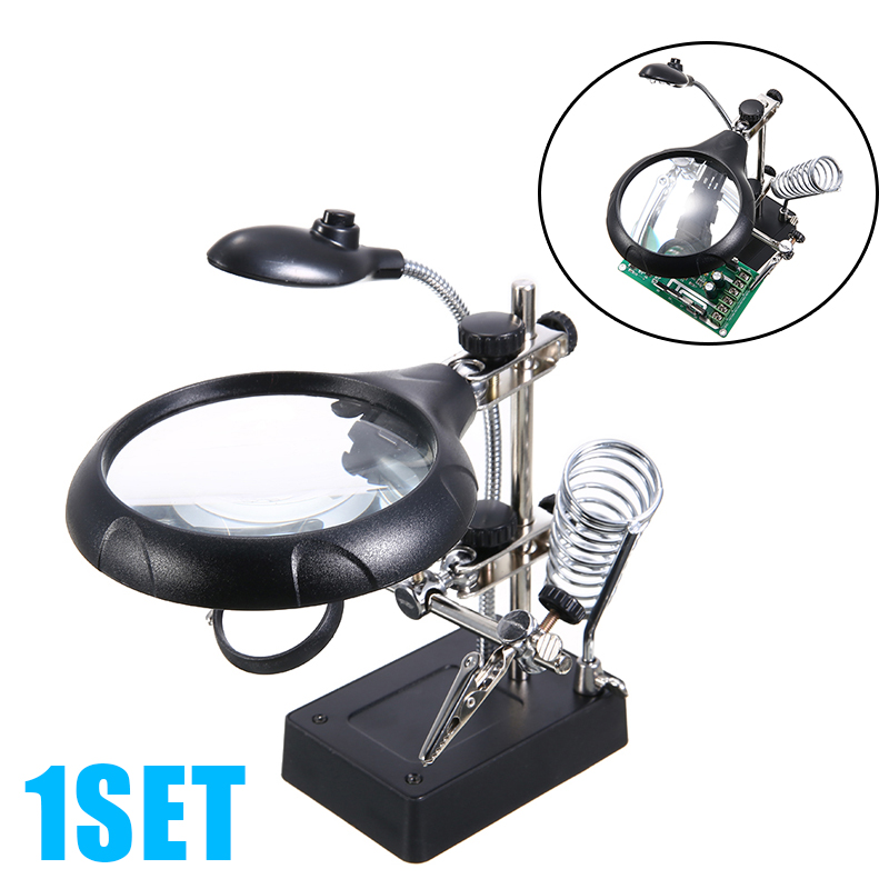 Welding Magnifying Glass 5 LED Light 2.5X 7.5X 10X Lens Auxiliary Clamp Clip Magnifier Welding Rework Repair Solder Iron Holder