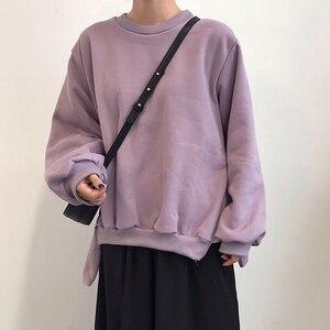 Image 3 - GALCAUR Lace Up Side Split Sweatshirts Female O Neck Lantern Long Sleeve Warm Plus Thick Autumn Womens Sweatshirt Fashion 2020