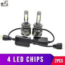 цена на FUXUAN 2Pcs CSP H8 H11 Lamp H4 Led H7 H1 H3 Car Headlight Bulbs For Auto H27 881 HB3 HB4 Led Automotive 12V 60W 6400LM 6000K