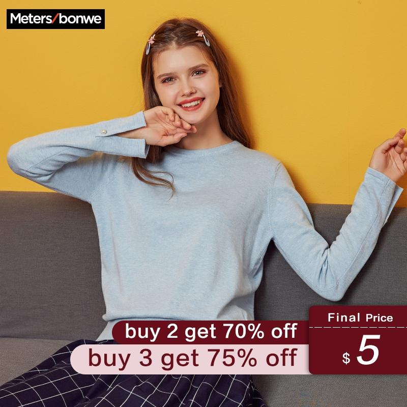 Metersbonwe 2019 Cotton Knitted Sweater Women Pullovers O-neck Autumn Winter Basic Women Sweaters Korean Style Slim Fit