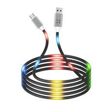 ANKNDO sterowanie głosem światła rodzaj Usb C kabel otoczenia Led kabel Micro Usb 1M 2.4A Usb C telefon przewód ładowarki Usbc przewód do ładowania